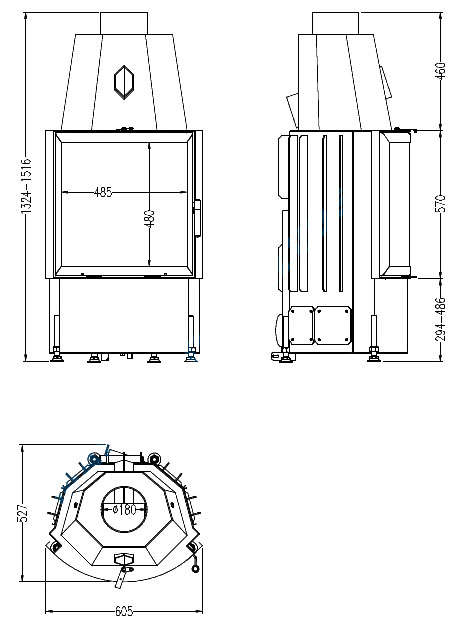 radiante 600 57 rkd terra kaminos. Black Bedroom Furniture Sets. Home Design Ideas